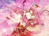 Wallpapers Manga vocaloid megurine luka cerisiers spirales éventail ecchi paillettes rose kimono yukata