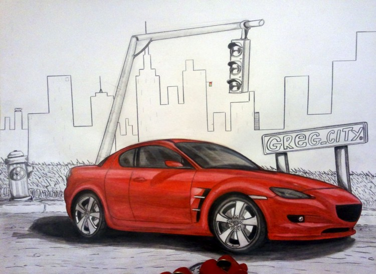 Wallpapers Art - Pencil Cars and motorbikes Mazda RX-8