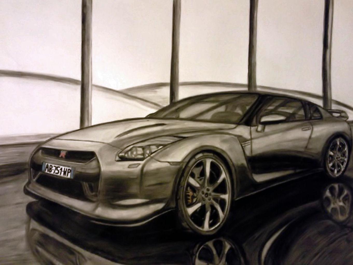 Fonds d'écran Art - Crayon Voitures et Motos Nissan skyline GT-R