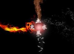 Fonds d'écran Art - Numérique Les 4 élément et leur Kanji