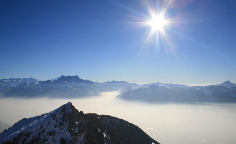 Wallpapers Nature Mountains Dents du Midi et mer de brouillard