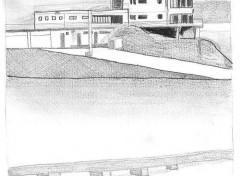 Fonds d'écran Art - Crayon Bâtiment au bord de l'eau