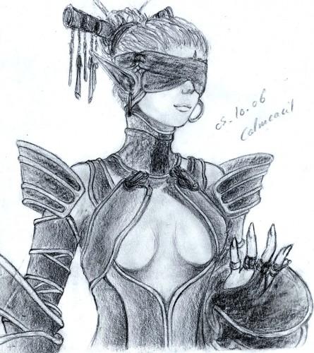 Fonds d'écran Art - Crayon Fantasy - Elfes Drow - Lineage