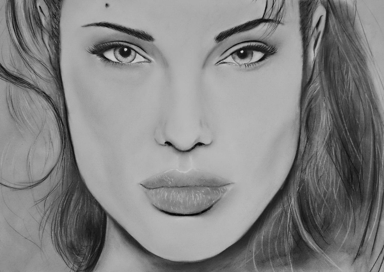 Fonds d'écran Art - Crayon Portraits Angelina Jolie Pastel