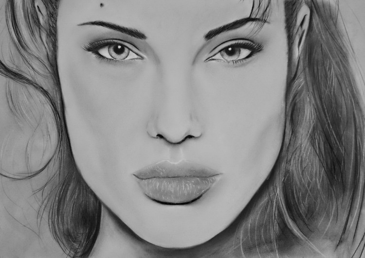 Wallpapers Art - Pencil Portraits Angelina Jolie Pastel