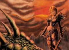Wallpapers Digital Art tueuse de dragon
