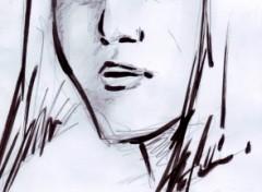 Fonds d'écran Art - Crayon Sketch girl