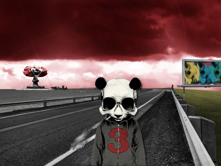 Wallpapers Digital Art Science-Fiction - Robots smoking panda