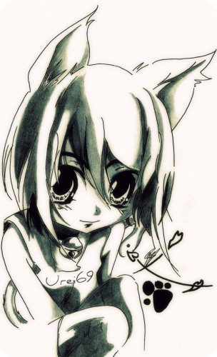 Fonds d'écran Art - Crayon Manga - Divers Kawaii Neko Girl