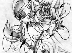 Wallpapers Art - Pencil Rose N&B Tatoo