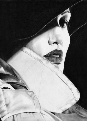 Fonds d'écran Art - Crayon Portraits Angélina Jolie