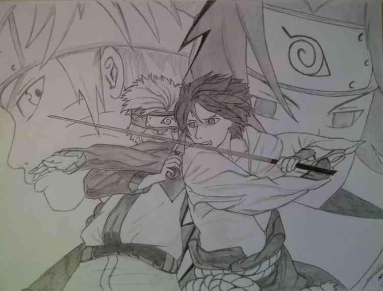 Wallpapers Art - Pencil Manga - Naruto Naruto vs Sasuke