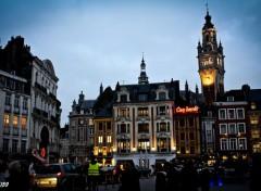 Fonds d'écran Voyages : Europe Centre ville de Lille en début de soirée