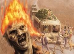 Fonds d'écran Art - Numérique mort vivant en flamme