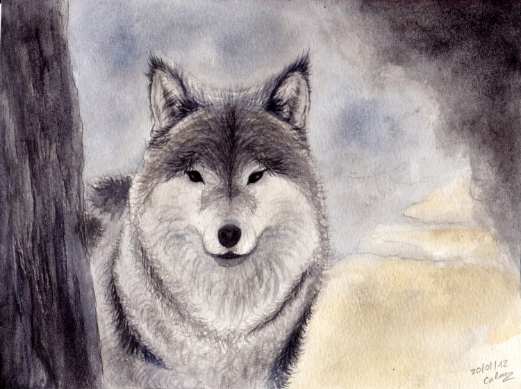 Wallpapers Art - Painting Animals Aquarelle (7eme essai)