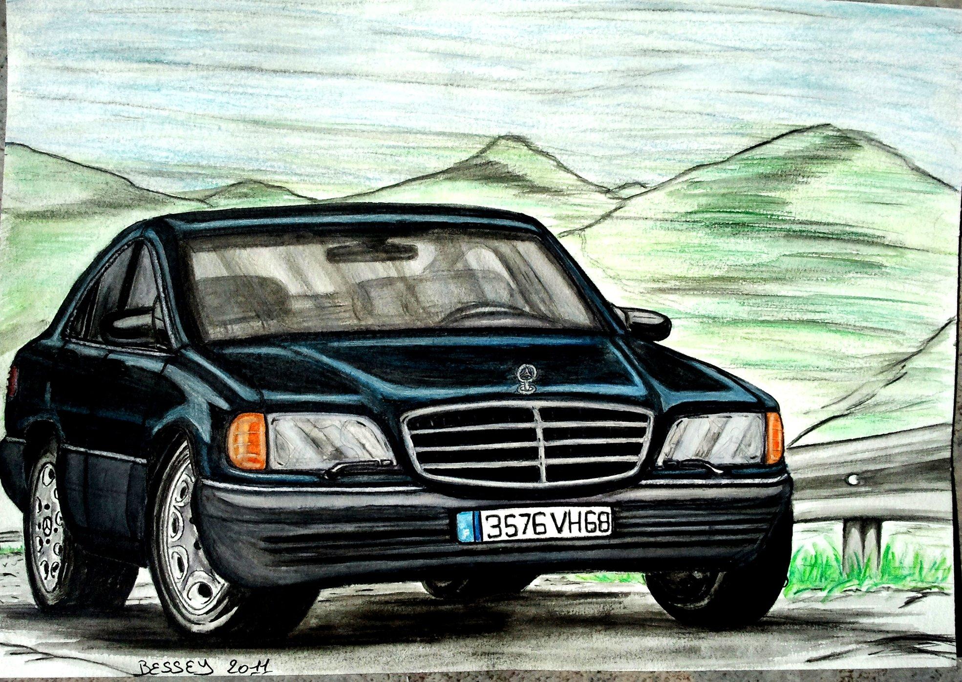 Fonds d'écran Art - Crayon Voitures et Motos Mercedes 280