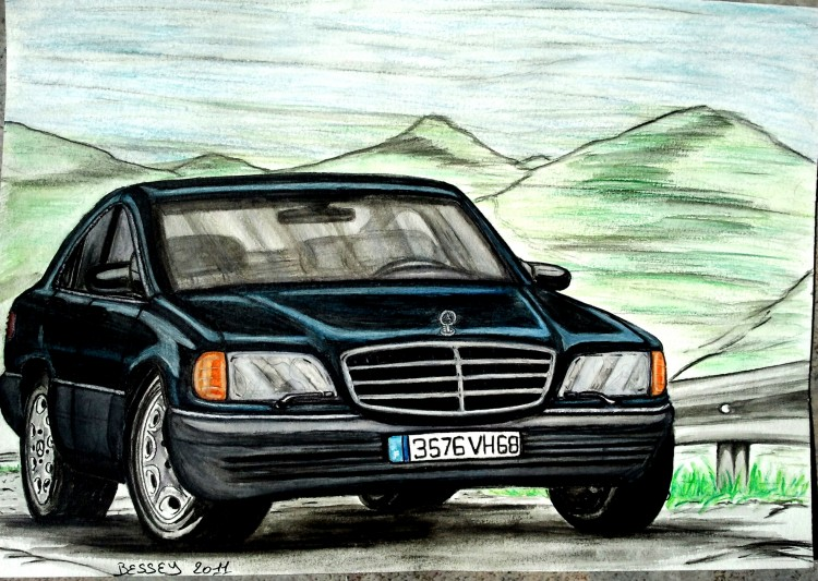 Wallpapers Art - Pencil Cars and motorbikes Mercedes 280