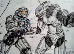 Wallpapers Art - Pencil Spartan VS Elite