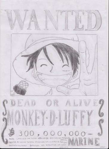 Fonds d'écran Art - Crayon Manga - One piece wanted luffy