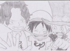 Fonds d'écran Art - Crayon ace, luffy et sabo ;