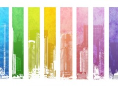 Digital Art White Rainbow Town