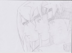 Art - Pencil naruto, minato, kushina ; Une lignée d'exception :D