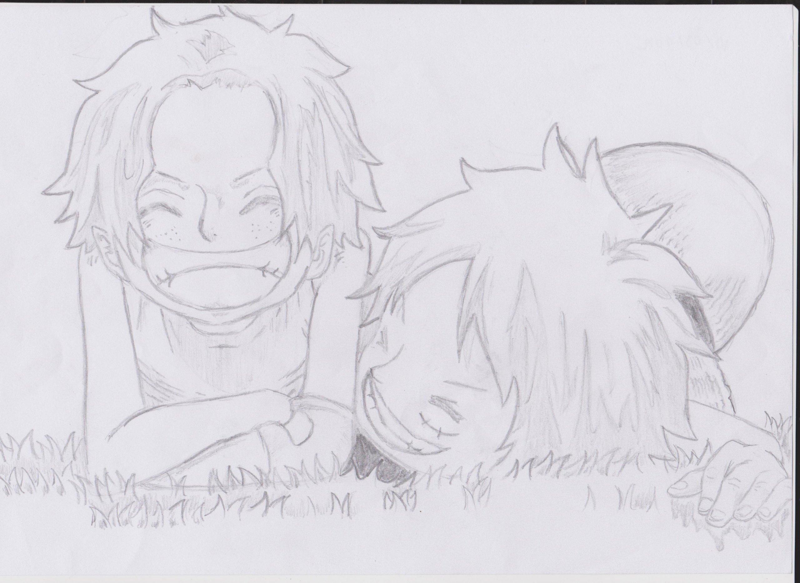 Fonds d'écran Art - Crayon Manga - One piece Portgas D Ace et Monkey D Luffy