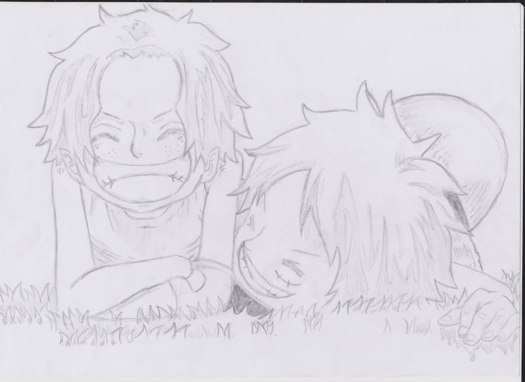 Fonds d'écran Art - Crayon Manga - One piece Portgas D Ace et Monkey D Luffy