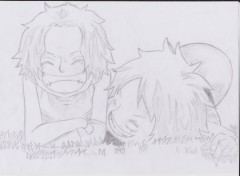 Art - Pencil Portgas D Ace et Monkey D Luffy