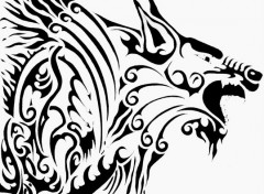 Art - Crayon Loup tribal
