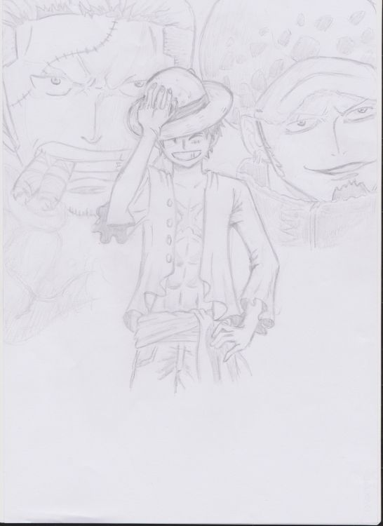 Fonds d'écran Art - Crayon Manga - One piece Le capitaine corsaire : Trafalgar Law, le contre amirale : Smoker et le future roi des pirates : Luffy