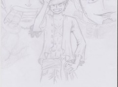 Art - Pencil Le capitaine corsaire : Trafalgar Law, le contre amirale : Smoker et le future roi des pirates : Luffy