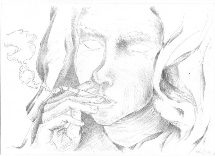 Wallpapers Art - Pencil Portraits femme qui fume !