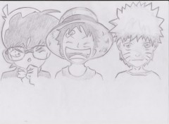 Art - Pencil Conan Edogawa + Monkey D Luffy + Uzumaki Naruto