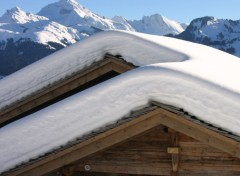 Nature chalet sous la neige