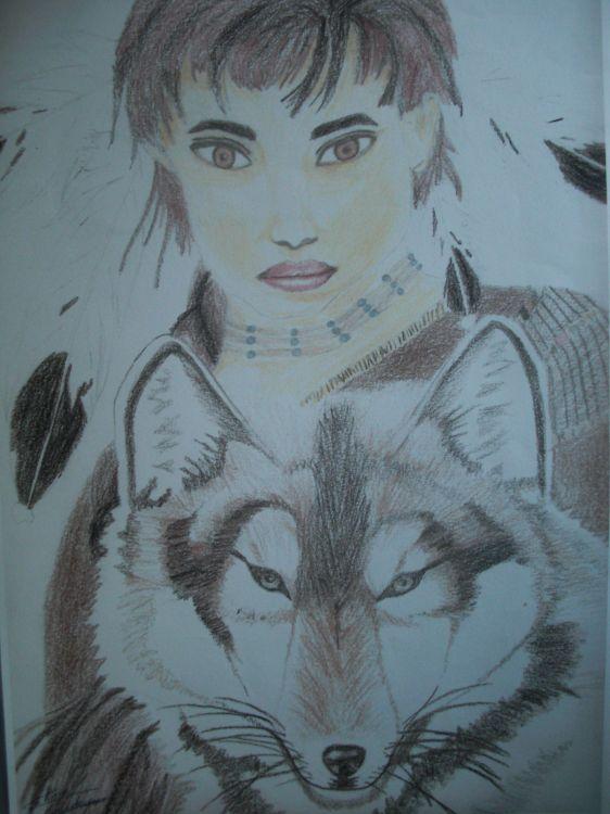 Wallpapers Art - Pencil Women - Femininity Indienne et loup