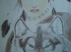 Art - Pencil Indienne et loup