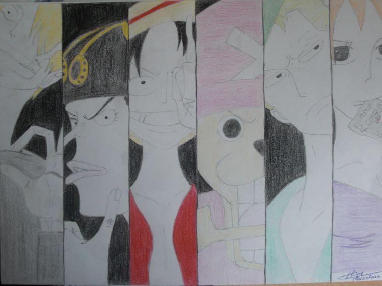 Wallpapers Art - Pencil Manga - One piece L équipe a luffy