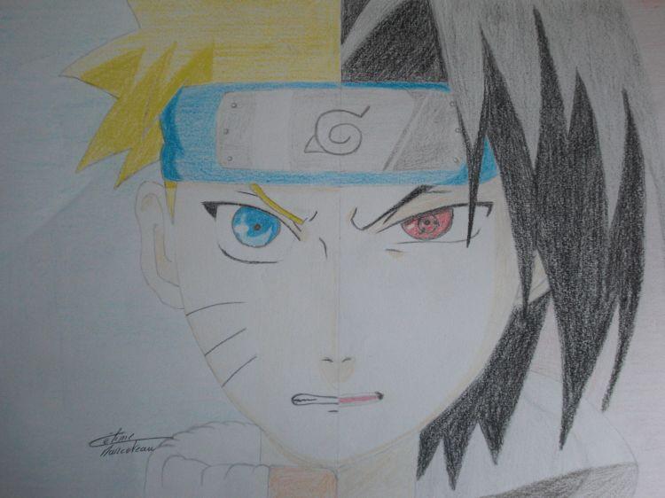 Wallpapers Art - Pencil Manga - Naruto Naruto VS Sasuké