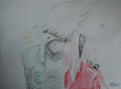Art - Pencil Kakashi love Sakura