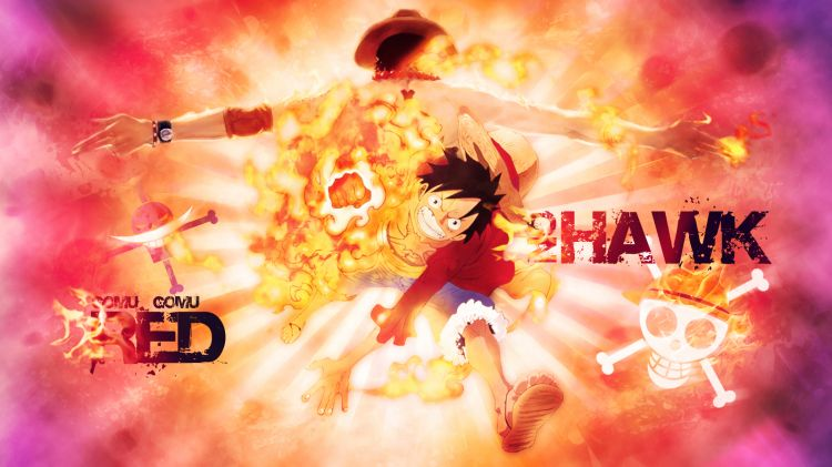 Wallpapers Manga One Piece Luffy Red Hawk