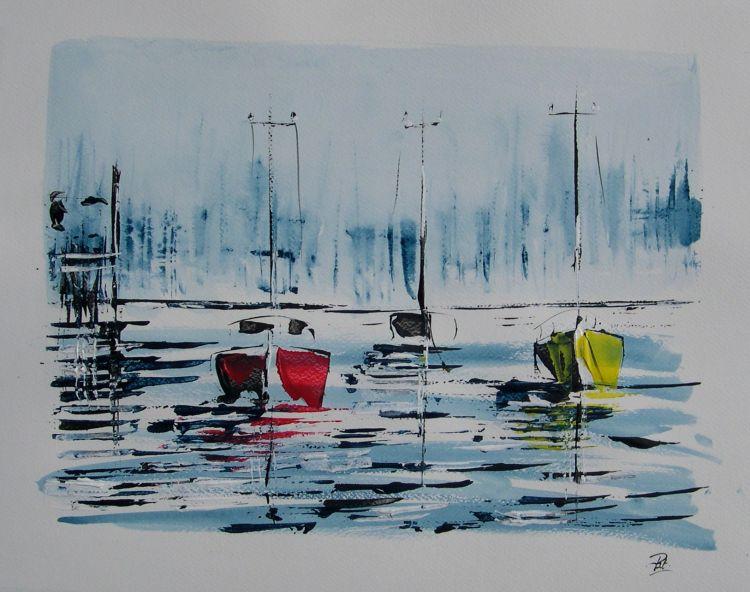 Fonds d'écran Art - Peinture Marine et port de pêche Marines acryliques
