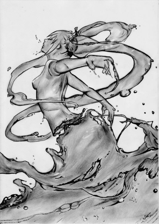Fonds d'écran Art - Crayon Fantasy - Femmes Eau