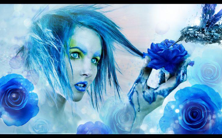 Wallpapers Digital Art Women - Femininity Blue Colibri