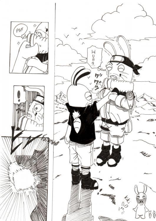 Fonds d'écran Art - Crayon Manga - Naruto naruto et lapins crétins