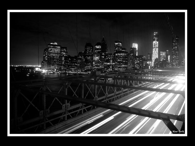 Wallpapers Trips : North America United-States > New York Photo prise du Pont de Brooklyn en pose longue