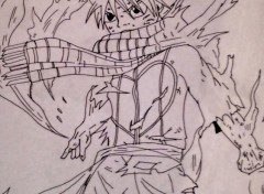 Art - Pencil Natsu en flamme de Fairy Tail
