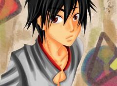 Art - Numérique garçon aux yeux rouges