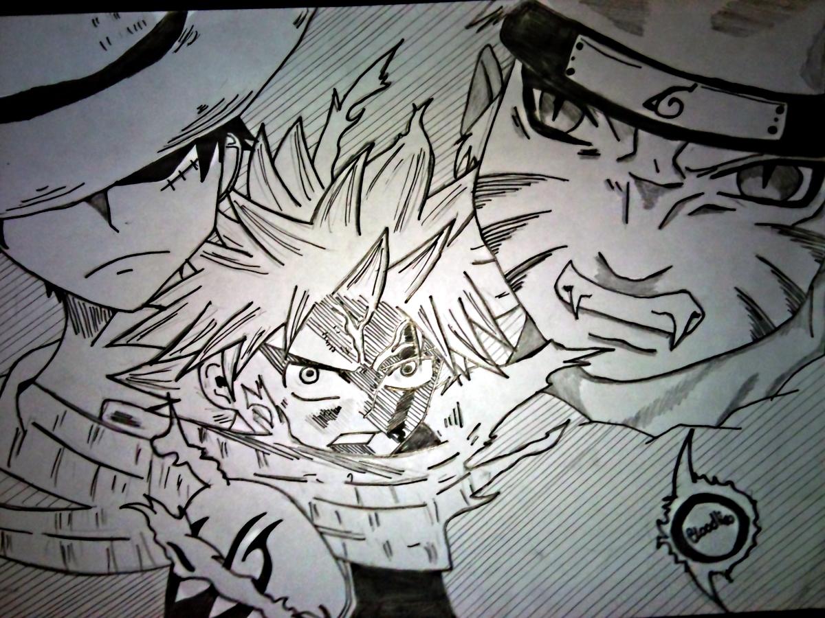 Fonds d'écran Art - Crayon Manga - Naruto Natsu , Naruto et Luffy .