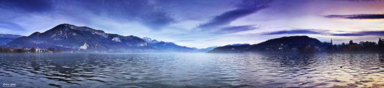 Fonds d'écran Nature Lacs - Etangs Panorama: Brume du lac